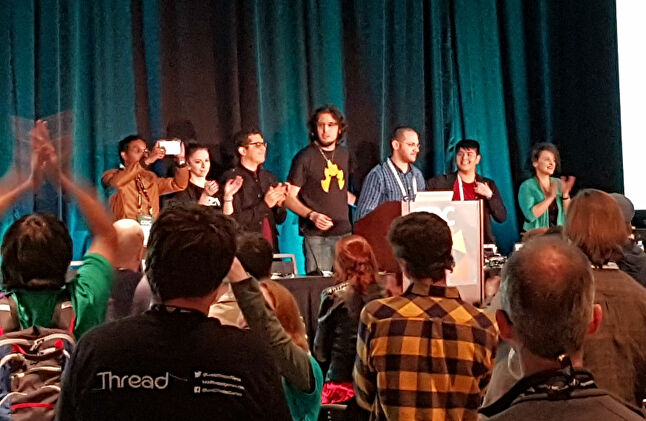 The GDC audience giving #1ReasonToBe a standing ovation