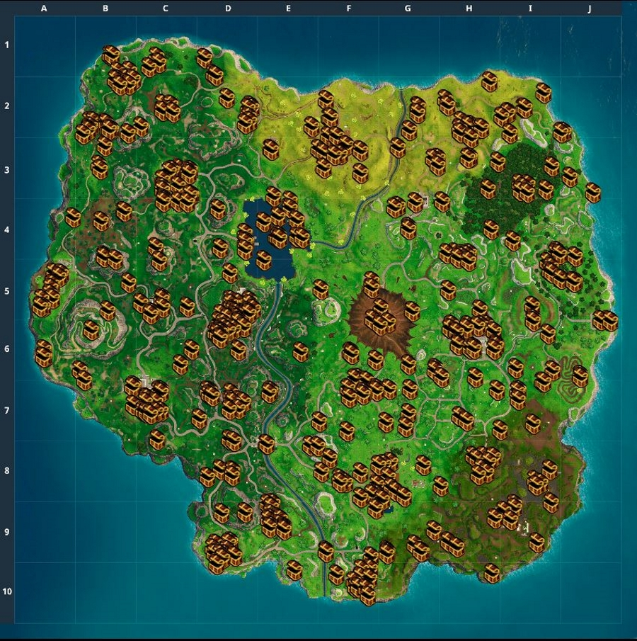 fortnite battle royale chest map loot map pc ps4 xbox one
