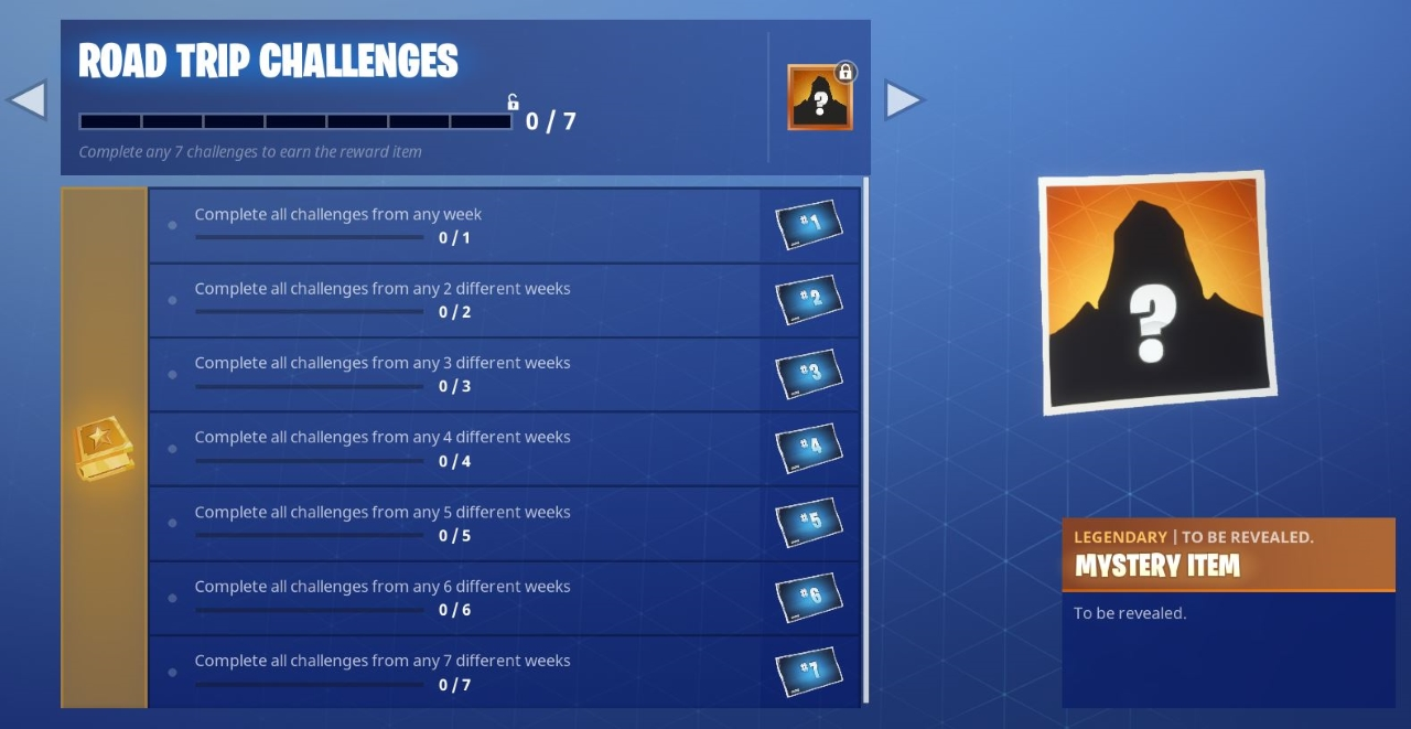 rinse and repeat this method for seven weeks to bag the mystery road trip skin - fortnite mystery skin season 7 stage 2