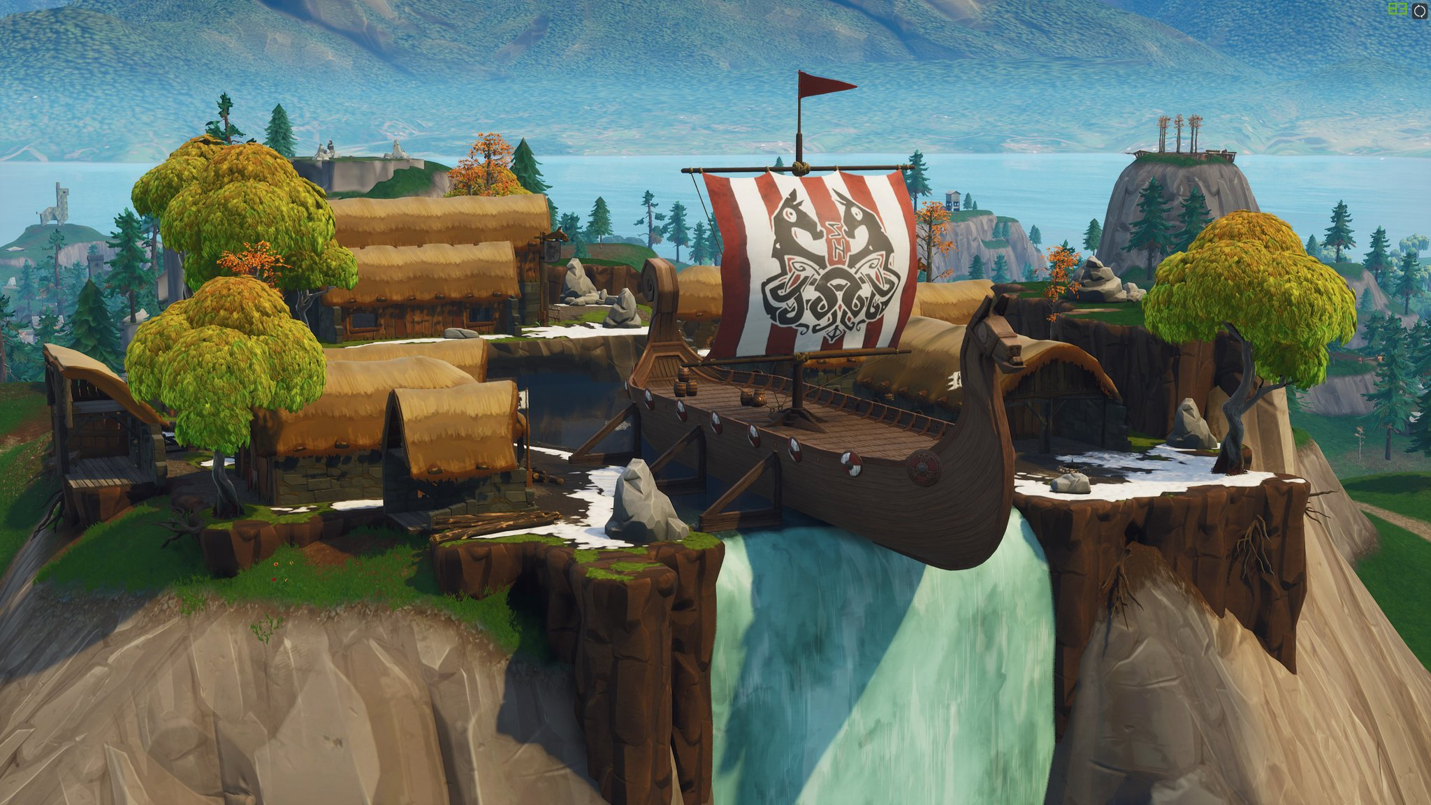 an enormous viking ship s also planted on the edge of the waterfall which indicates they ve probably been pulled into the world unexpectedly while rowing - fortnite background tilted towers