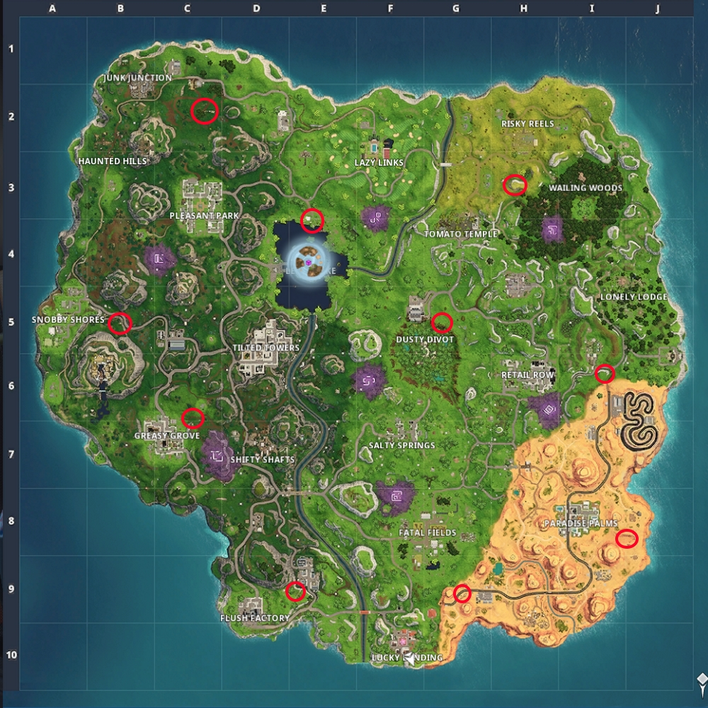 Fortnite: All Flaming Hoop locations (Season 6 Challenge