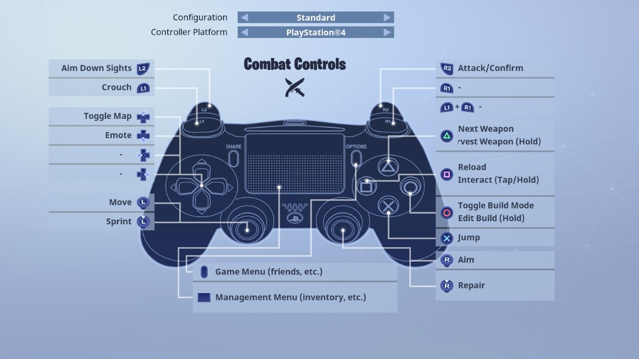 controls for fortnite pc