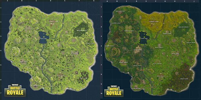 new map comparison v 2 2 0 - shrines fortnite