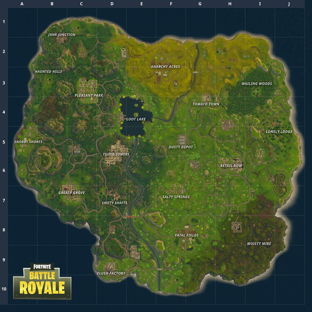 pleasant park before the first map update this was easily the most populated area on the map land on a roof smash your way in and get looting - fortnite carte pleasant park