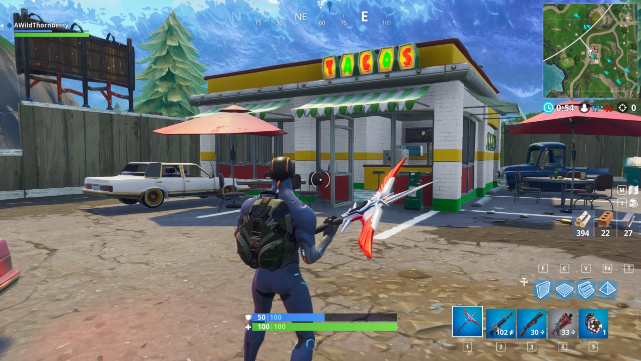 2 south of shifty shafts south of shifty shafts and past a large hilltop you ll find the taco shop in a small pit stop area - fortnite tacos