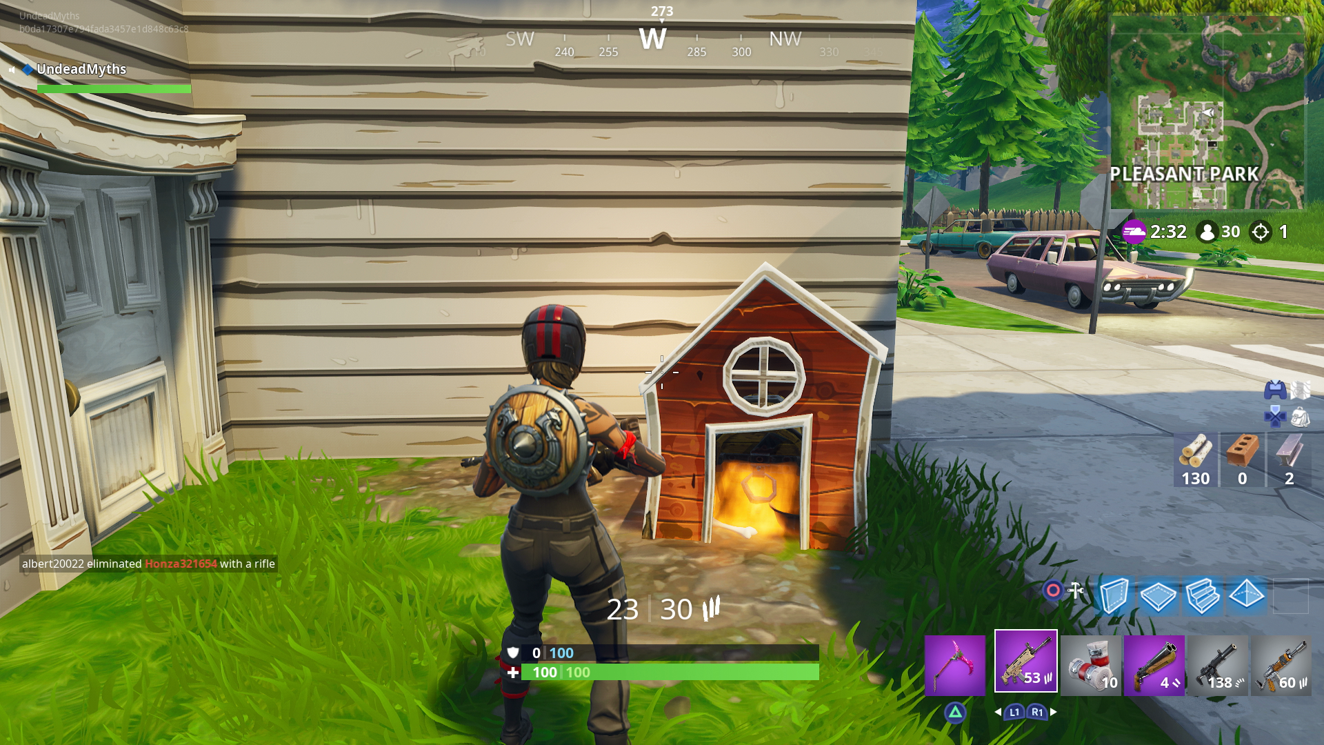 in the north east corner of the area there s a dog house containing a chest - pleasant park fortnite
