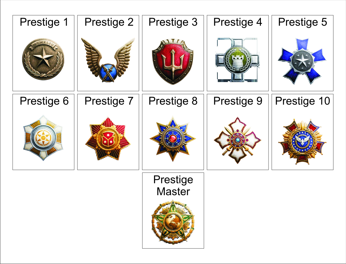 Cod ww2 prestige guide how to level up and earn xp quickly rank youll start off with the bronze star once youve prestiged for the first time but once youve attained the high status of prestige master in cod ww2 buycottarizona Gallery