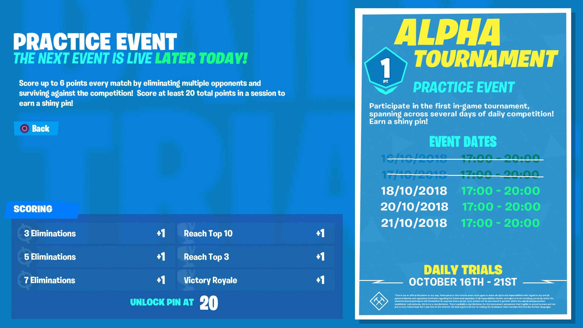 Fortnite Alpha Tournament Guide Start Times Pin Reward How To