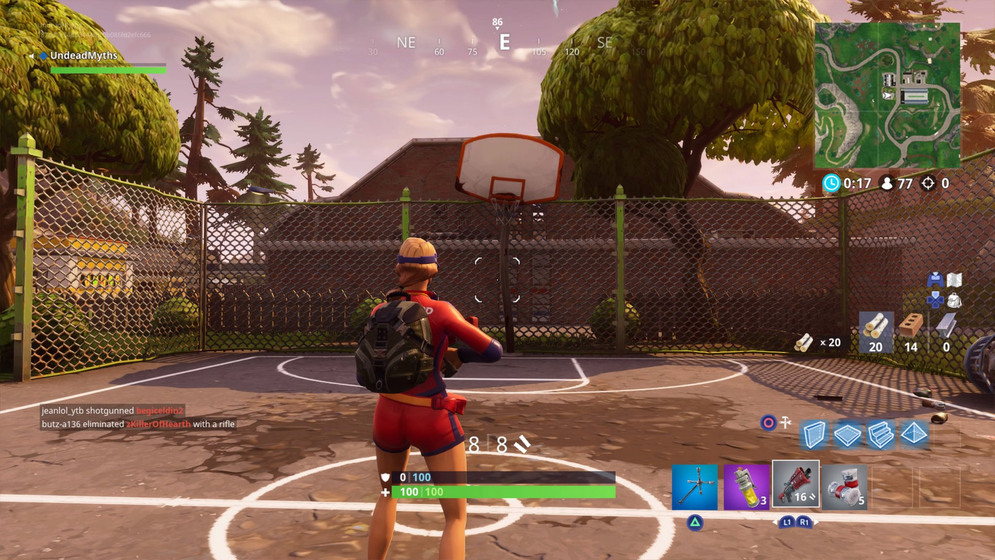 in the north of tilted towers you can find a basketball court on one of the raised sections - basketball challenge fortnite