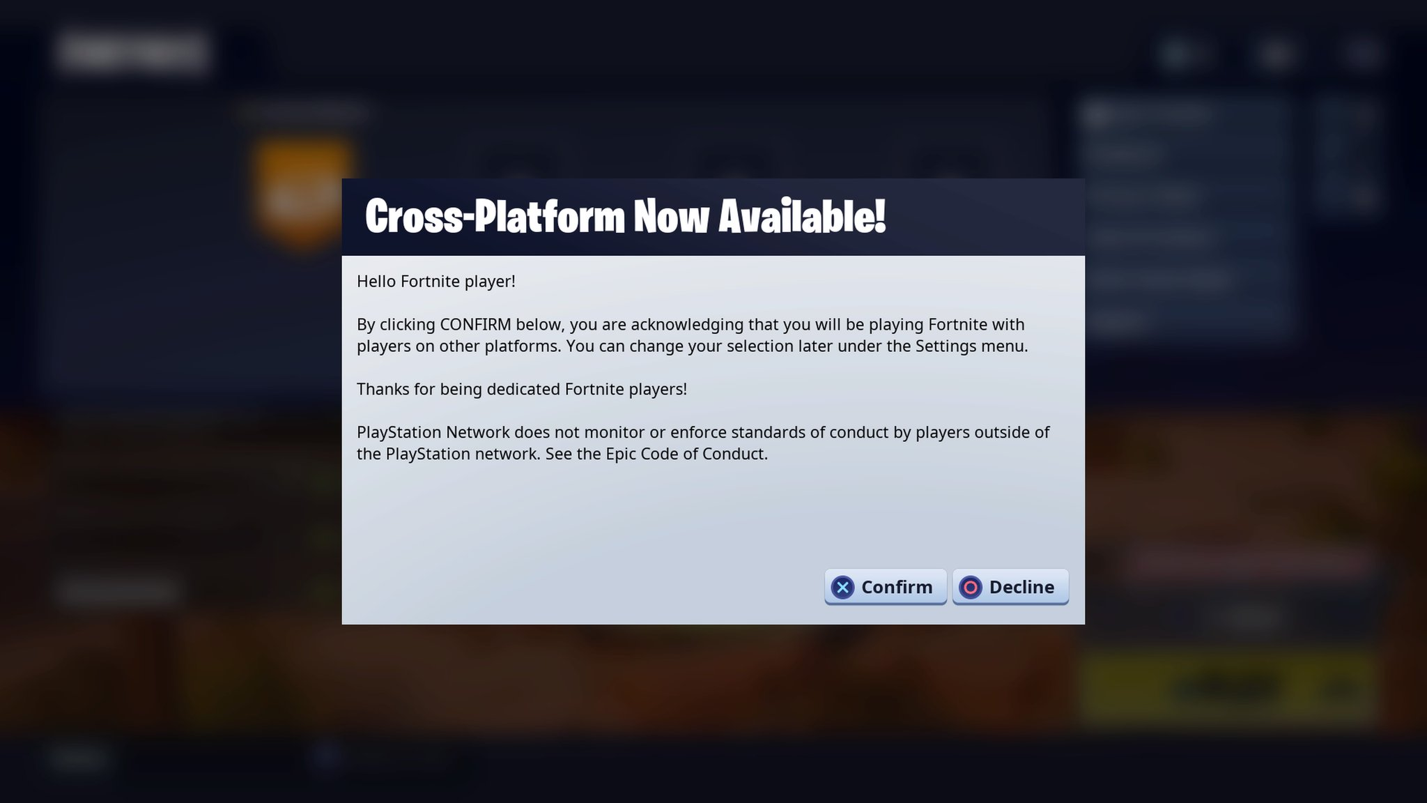 now on your ps4 version of fortnite battle royale press options on the main battle royale menu then press the epic friends button where you ll now - xbox and ps4 play together fortnite