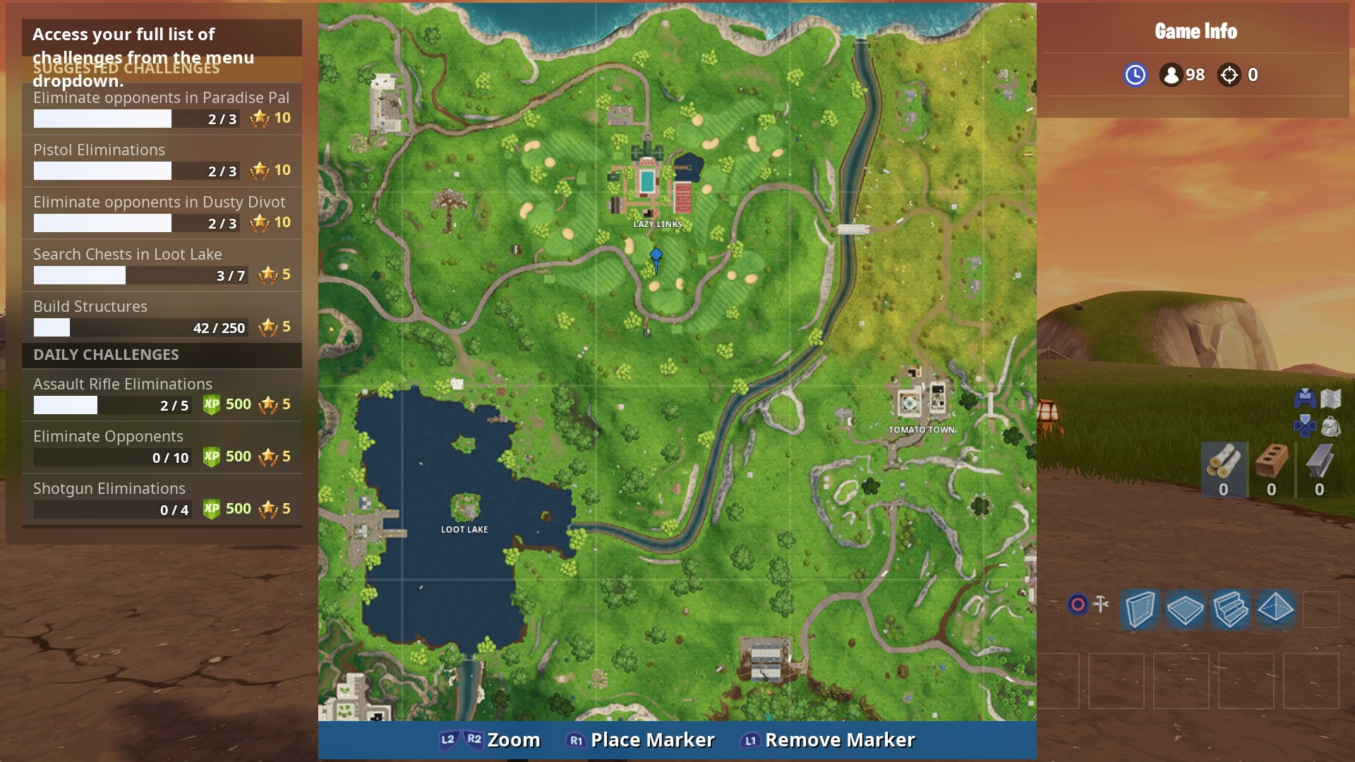 fortnite battle royale map which can be found within square f3 now head just south from the main large building compound at lazy links and you ll be - lazy links fortnite map
