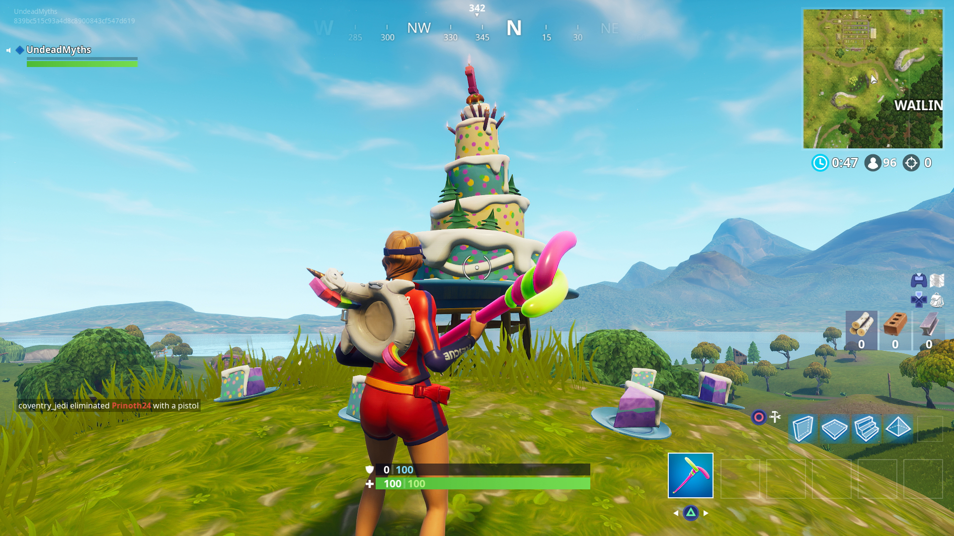 fortnite cakes dance in front of different birthday cakes - fortnite cake map