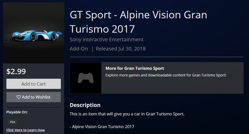Gt Sport Receives Option To Buy Certain Cars From Playstation Store With Real Money Usgamer