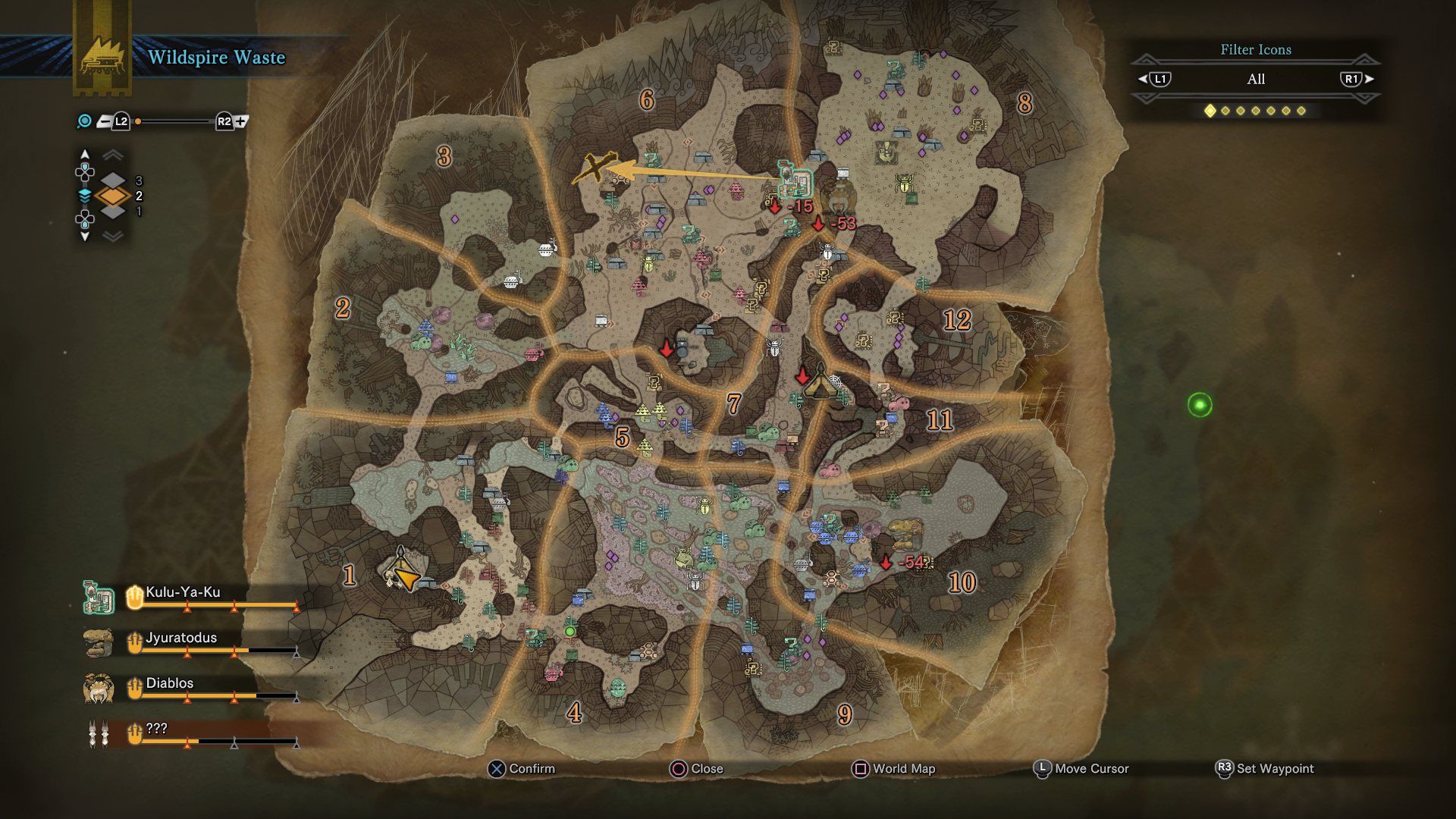 Monster hunter world wildspire waste guide complete map overview alternatively you can head east from area 1 coming to areas 4 9 and 10 all of which contain swampy areas where the jyuratodus can often be found gumiabroncs Image collections