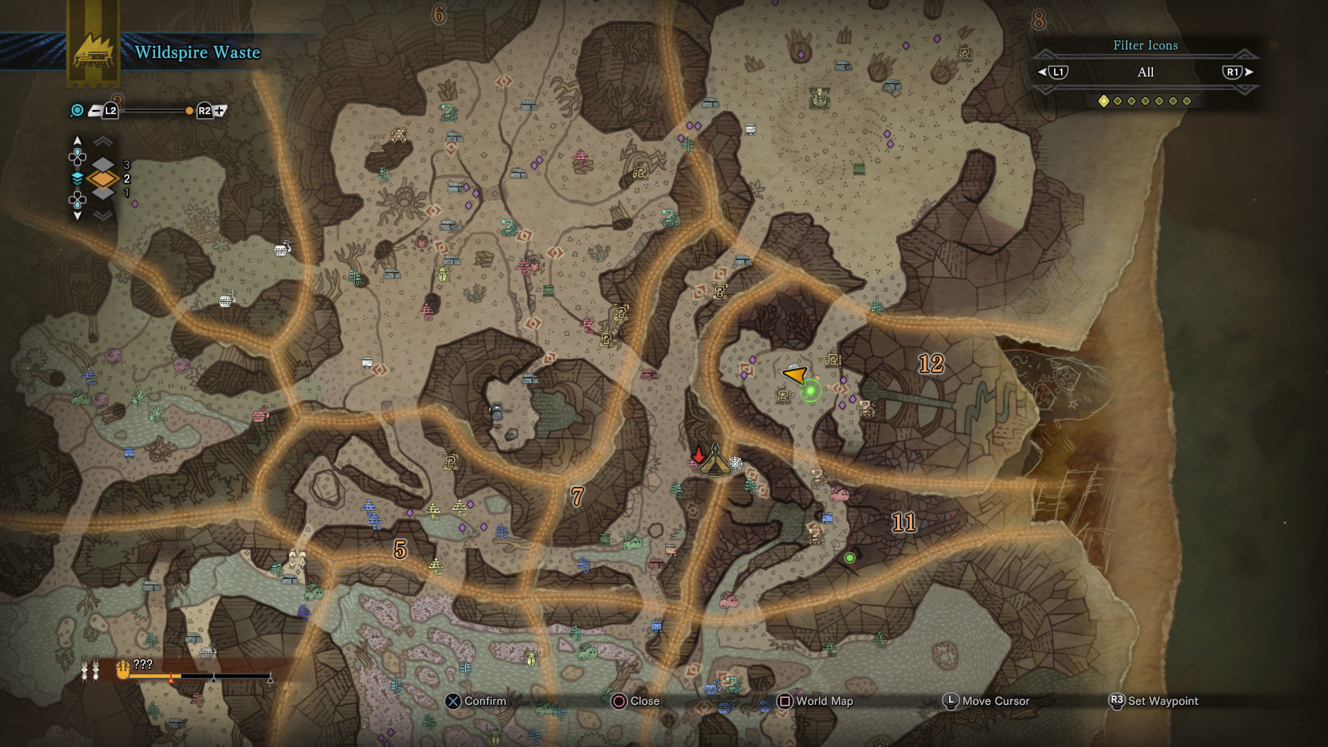 Monster hunter world wildspire waste guide complete map overview there are fewer plants up in this area of the wildspire waste map but you can find needleberry slashberry bonepiles mining outcrops herbs and kestadon gumiabroncs Gallery