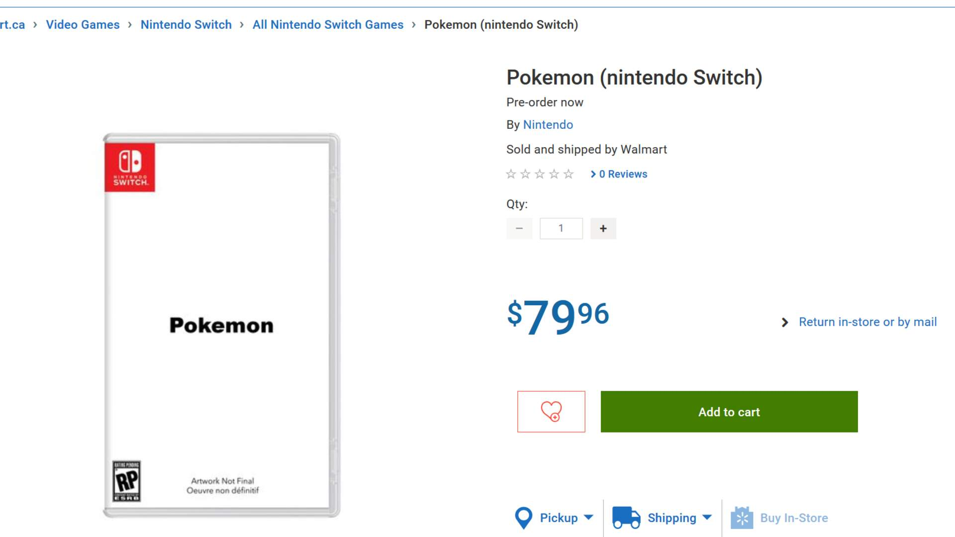 Serial Leaker Walmart Canada Can't Help Itself, Lists Pokemon Switch Online
