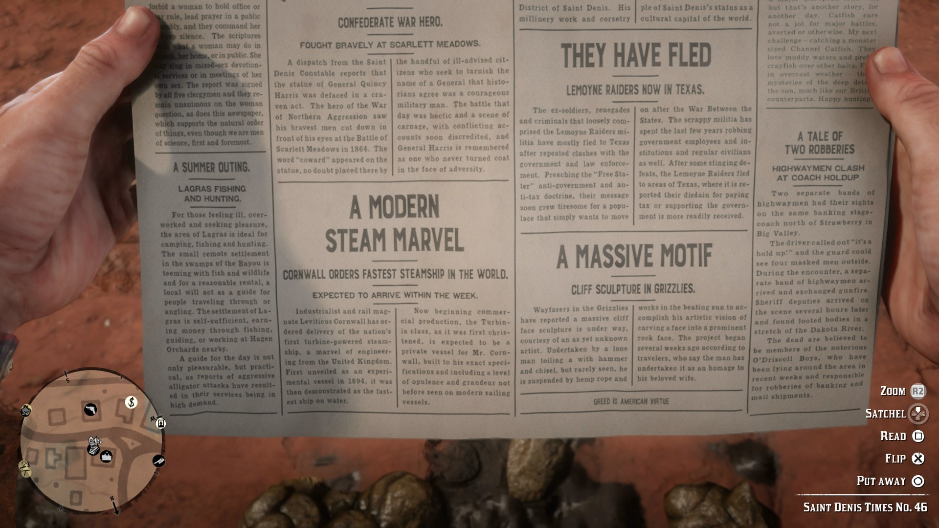 Red Dead Redemption 2 Cheat Code, Red Dead Redemption 2 Cheat Description,  Newspaper Required, Newspaper