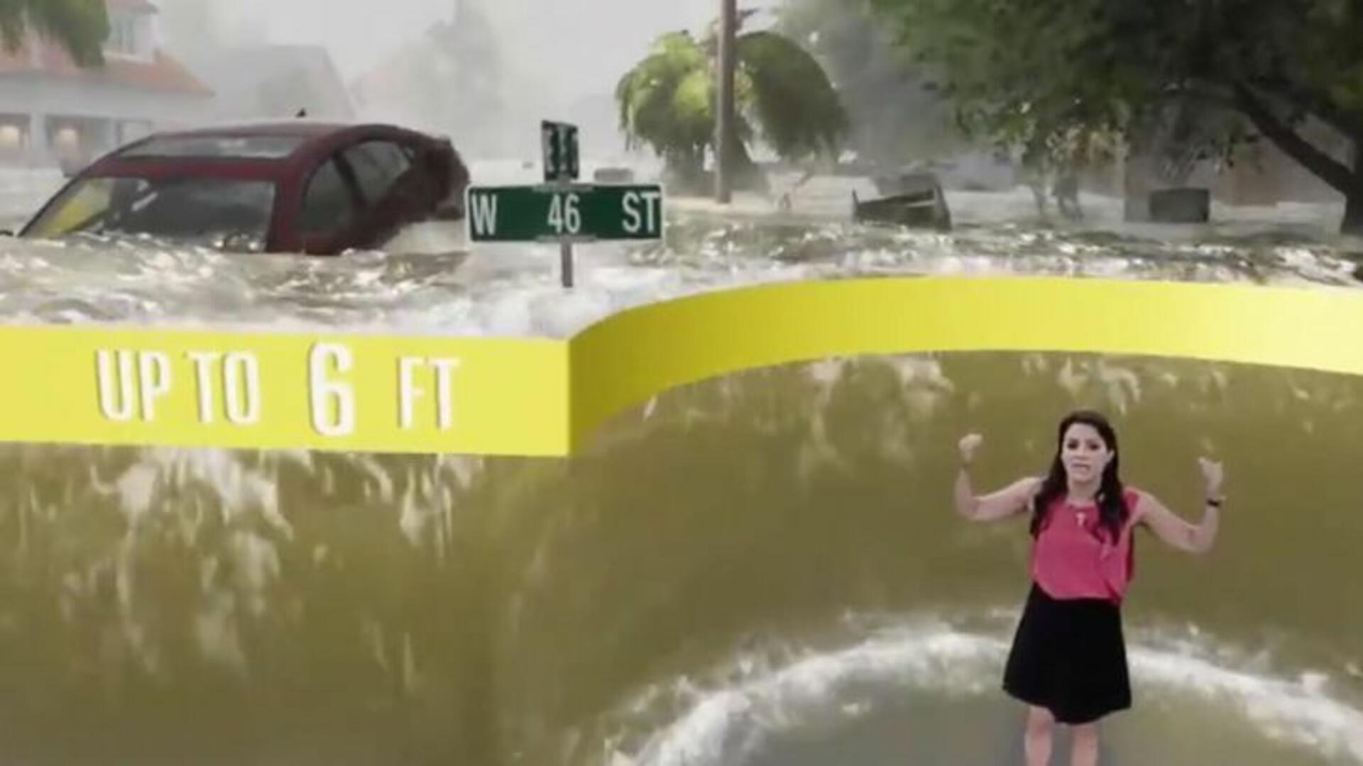 Dramatic Weather Report Of Hurricane Florence Storm Surge
