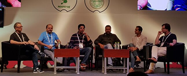 Market Predictions panel at the India Game Developer conference (from left to right): David Wightman, Rohith Bhat, Anuj Tandon, Tanay Tayal, Amit Hardi, Pascal Luban