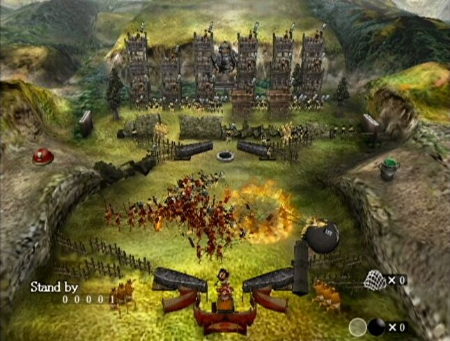 You can see the 30-foot-tall enemy general near the top-middle. The dots around him are his men carrying flags. (Screenshot pulled from MobyGames)