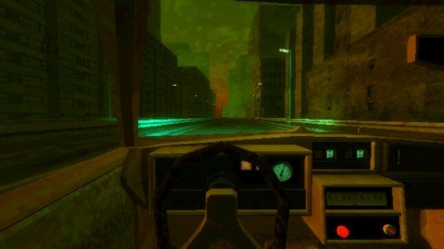 In Paratopic, the verb 'to drive' sends you on lengthy driving sequences with little activity beyond the passing of monotonous scenery and two, static-ridden radio stations