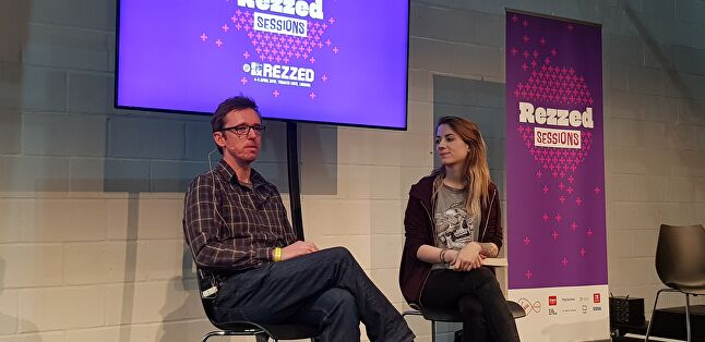 Dr Pete Etchells on stage at Rezzed with Rock Paper Shotgun deputy editor, Alice Bell