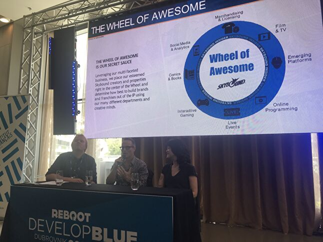 Dan Murray explains the Wheel of Awesome to a Reboot Develop audience