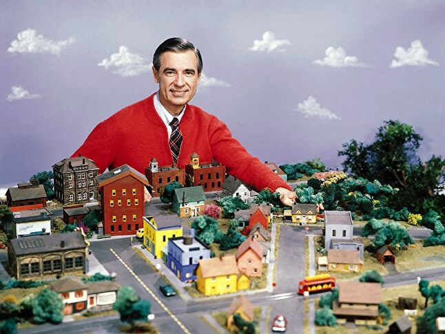 Fred Rogers with the model city used in Mister Rogers Neighborhood