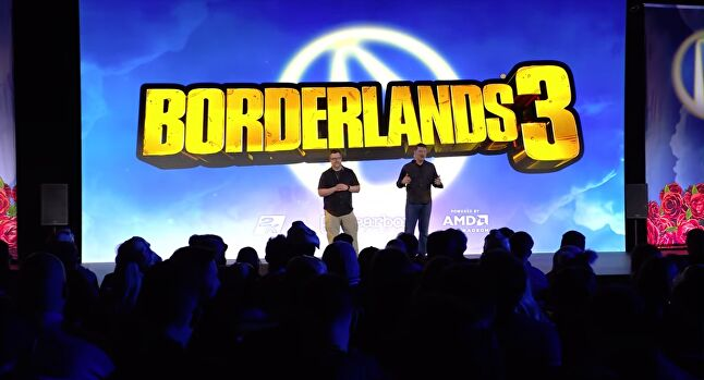 Randy Pitchford welcomes the crowd to Borderlands 3's gameplay reveal event