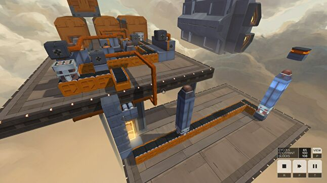 While Infinifactory was a larger project with full 3D objects and physics to take into account, the central concept was similar to SpaceChem and Opus Magnum