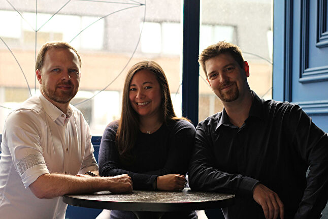 Left to right: Vela Games co-founders Travis George, Lisa Newon George and Brian Kaiser