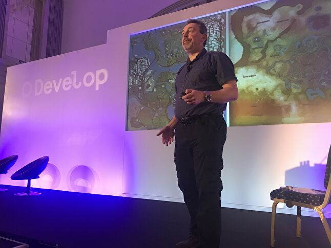 International Hobo's Chris Bateman delivering his talk at Develop:Brighton 2019
