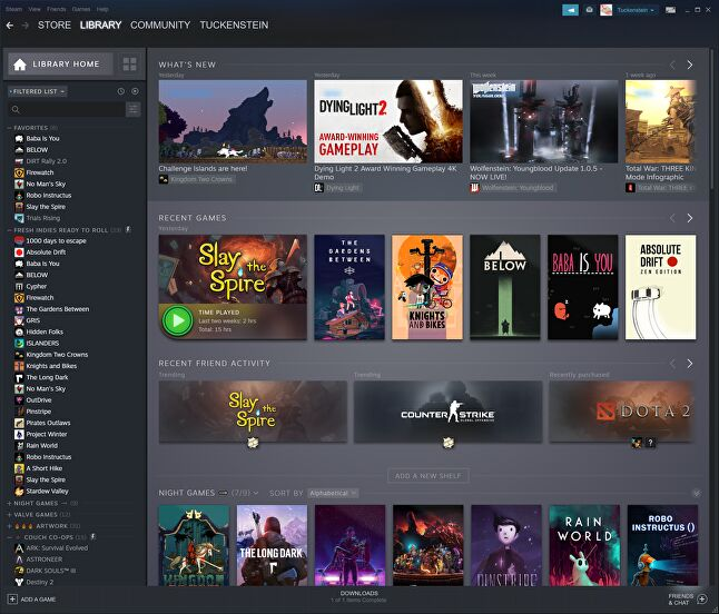 The new Steam library home