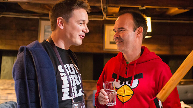 Supercell CEO Ilkka Paananen and Rovio's marketing director Peter Vesterbacka talk at the Slush Helsinki conference. Photo credit - Samuli Pentti, Slush Helsinki