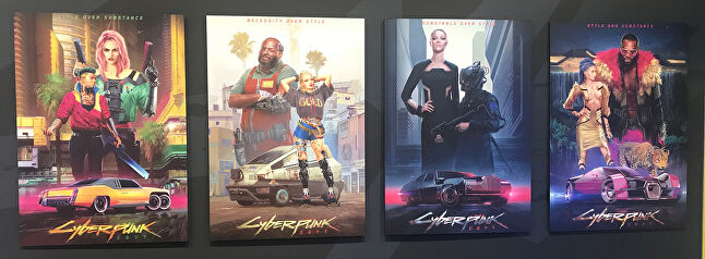 Posters demonstrate the four styles that define Cyberpunk 2077. From left to right, Kitsch, Entropism, Neomilitarism and NeoKitsch