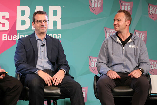 Harris, left, sharing the results of the Emergy study in a panel alongside FanAI CEO Johannes Walstein