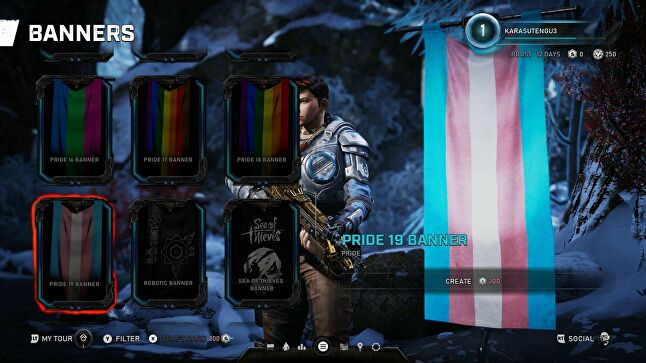 The trans pride flag in Gears 5. (Image credit: Twitter user @ashiinu)
