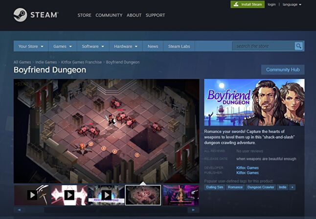 A look at Boyfriend Dungeon's Steam page