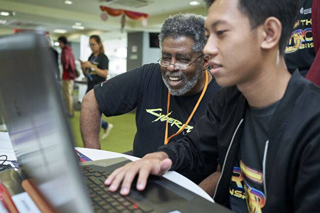 Mike Pondsmith at the Retro Inspired Game Jam -- Image credit: JCU Singapore