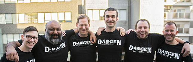 Dangen Entertainment, prior to a recent restructure. From left to right: Dan Stern, Nayan Ramachandran, Ben Judd, Dan Luffey, Chad Porter, and Justin Pfeiffer
