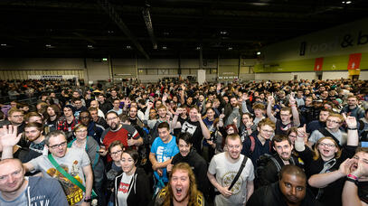 Crowd shot of the line to get into EGX