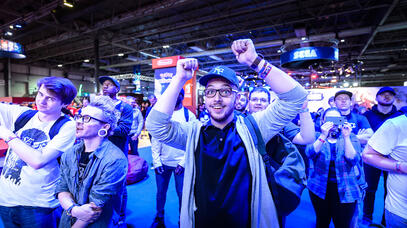 Excited crowd on the EGX show floor