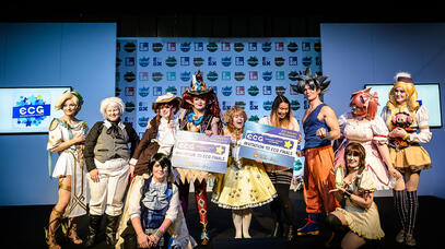 Cosplayer finalists on stage