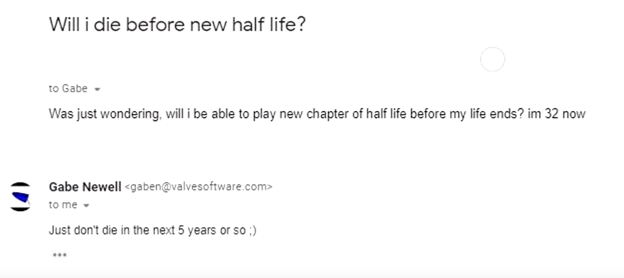 Gabe Newell Could Be Saying Half-Life 3 Will be Out in Five