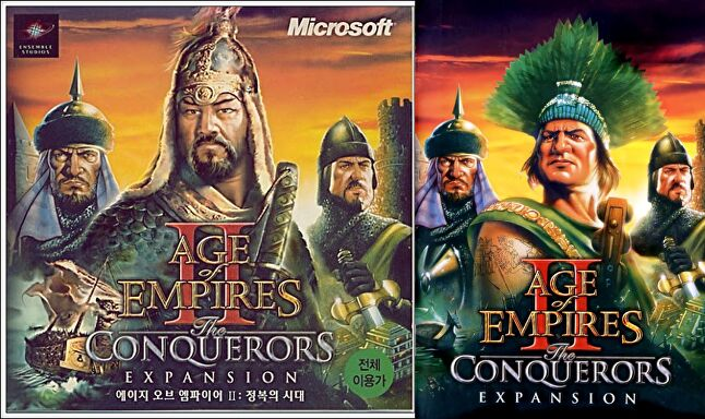 Age of Empires II: The Conquerors' cover art in Korea (left) versus the rest of the world