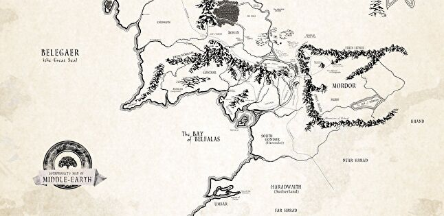 The map of Tolkien's Middle Earth as seen on creative web project lotrproject.com