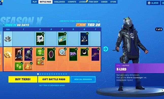 Fortnite Battle Pass for Season X
