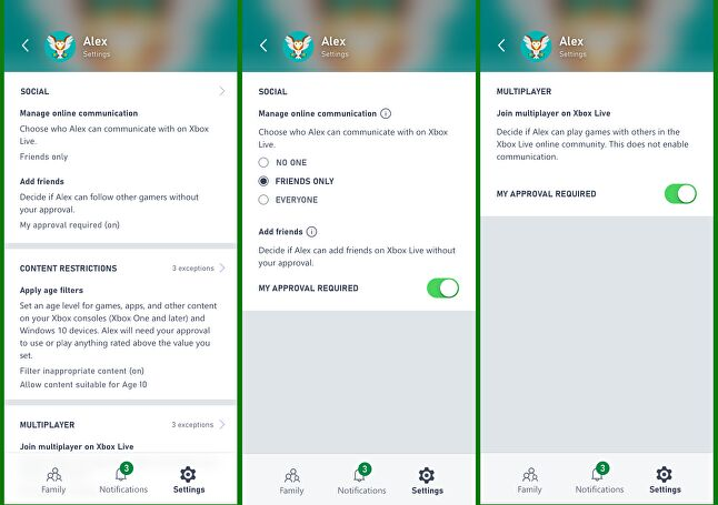 Parents can set exceptions to content restrictions from the app