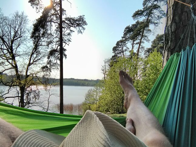 Sosowksi recommends getting a portable hammock so you can spend more time relaxing while surrounded by nature