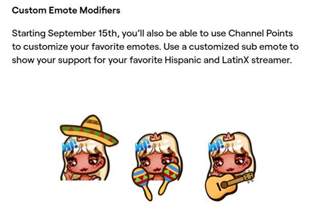 Twitch celebrated National Hispanic Heritage Month with emote modifiers